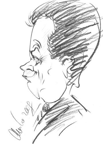 Bernd Loibl als Karikatur.