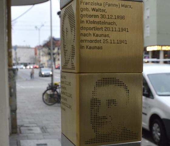 In der Corneliusstraße 2 zeigt eine neue Erinnerungsstele: Hier haben Fanny und Julius Marx gelebt. Foto: Koordinierungsstelle | Erinnerungszeichen
